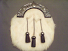 White Faux Fur w/Black Leather Tassels Sporran