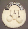 White Faux Fur w/White Faux Fur Tassels Sporran